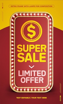Super sale vertical red led retro frame limited offer