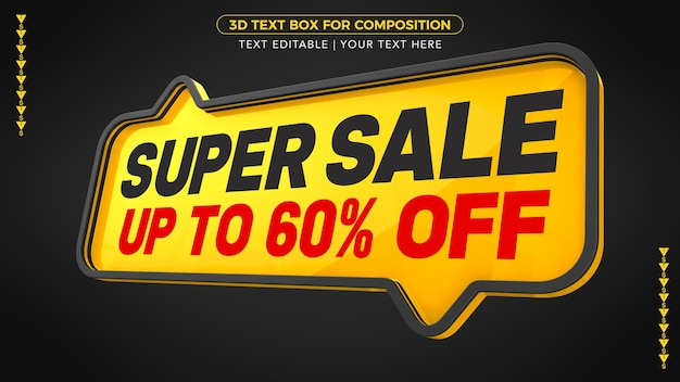 Super sale yellow text box with up to discount