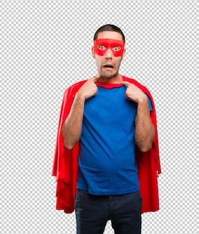 Superhero with an ansiety gesture