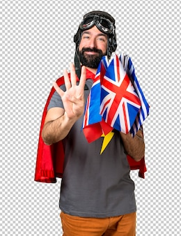 Superhero with a lot of flags counting four