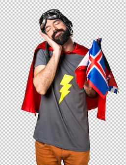 Superhero with a lot of flags making sleep gesture