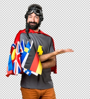 Superhero with a lot of flags presenting something