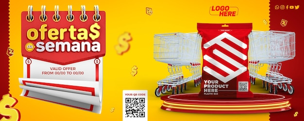 Supermarket banner template offers of the week in brazil for composition