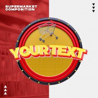 Supermarket composition mockup in 3d rendering