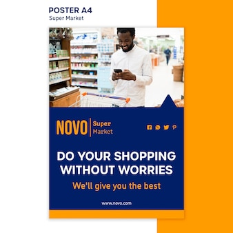 Supermarket concept poster template