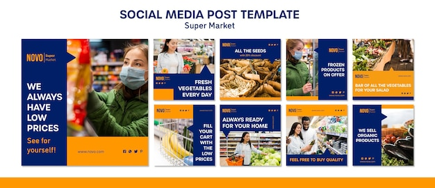 Supermarket concept social media post template