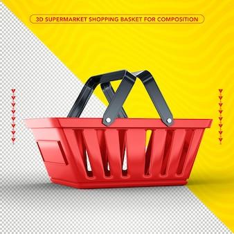 スーパーマーケット側の赤い買い物かごのデザイン