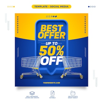 Supermarket social media model best offer with up to 50% discount