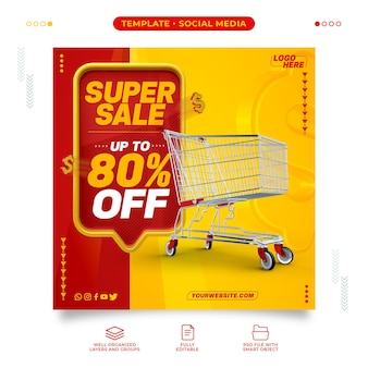 Supermarket social media super sale template with up to 80% discount