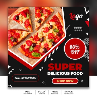 Supper sale social media banner template for restaurant
