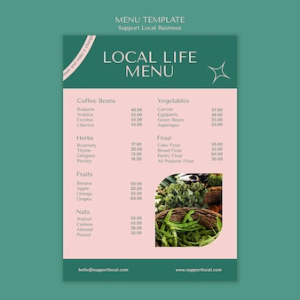 Support local businesses menu template