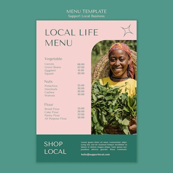 Support local businesses menu