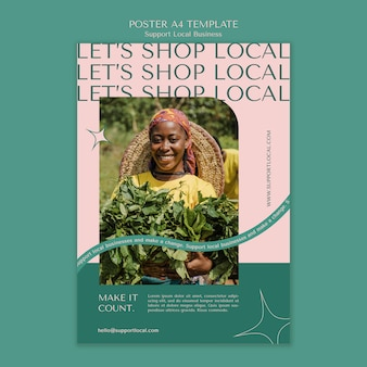 Support local businesses poster template