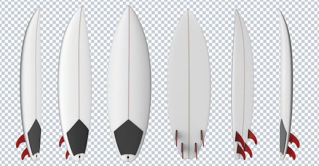 Surf board with red fins