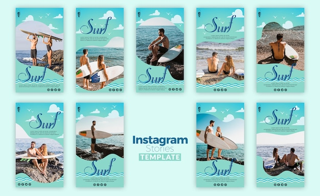 Surf concept instagram stories template