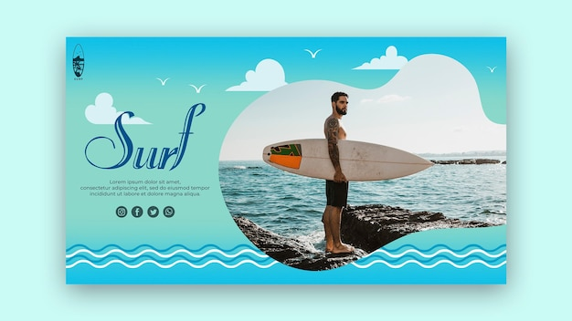 서핑 개념 방문 페이지 템플릿
