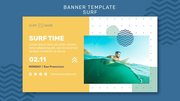 Surfing ad banner template
