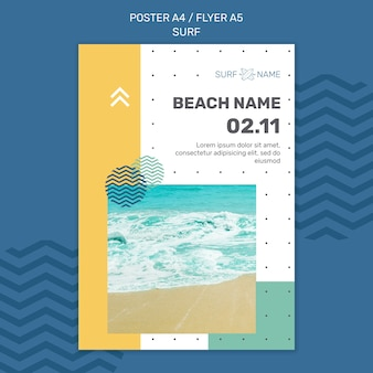 Surfing ad template flyer