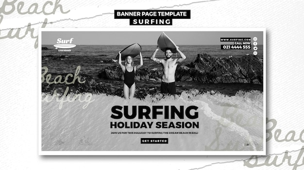 Surfing banner template style