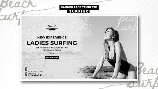 Surfing banner template theme
