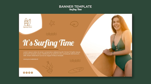 Surfing banner template