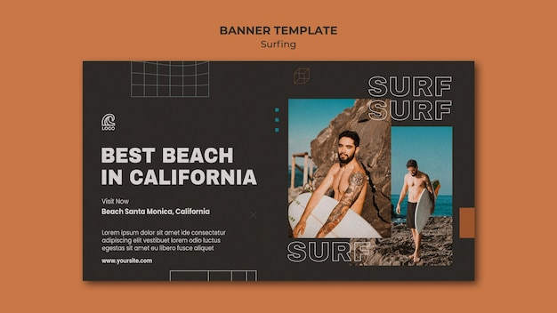 Surfing competition banner template