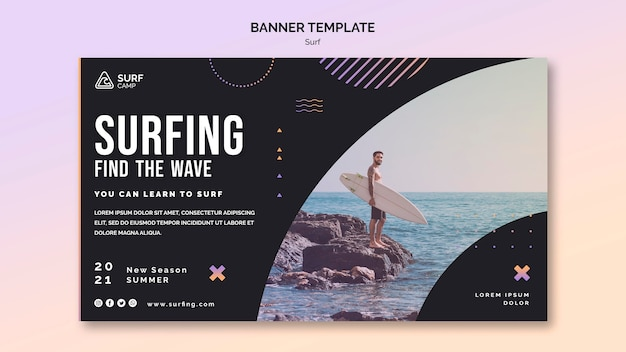 Surfing lessons banner template