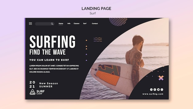 Surfing lessons landing page template