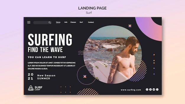 Surfing lessons landing page