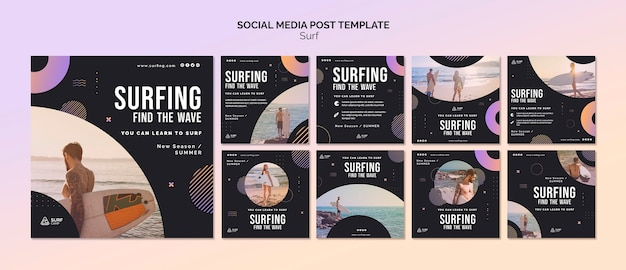 Surfing lessons social media posts