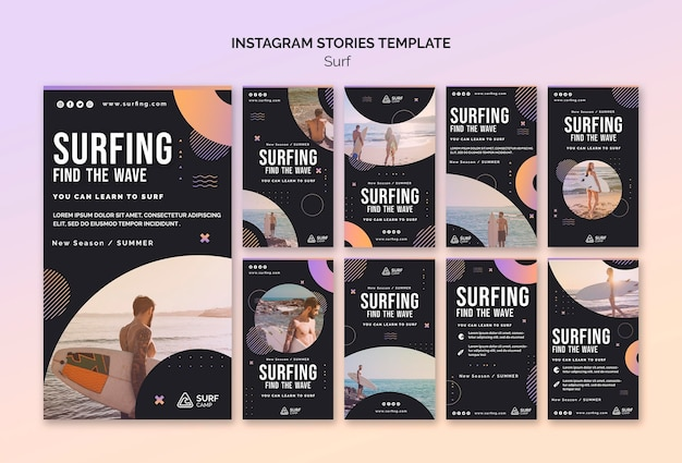 Surfing lessons social media stories