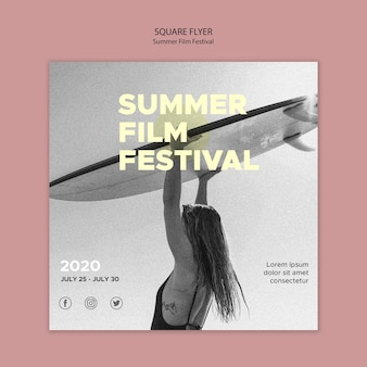 Surfing and summer film festival square flyer template
