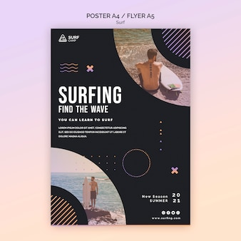 Surfing training poster template