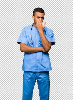 Surgeon doctor man having doubts