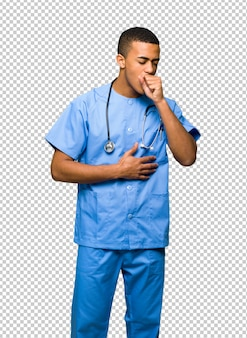 Surgeon doctor man is suffering with cough and feeling bad