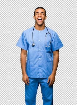 Surgeon doctor man shouting to the front with mouth wide open