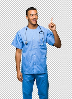Surgeon doctor man thinking an idea pointing the finger up