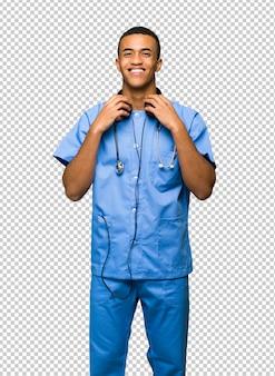 Surgeon doctor man with headphones