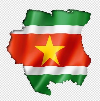 スリナムの旗の地図