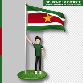 かわいい人の漫画のキャラクターとスリナムの国旗。 3dレンダリング。
