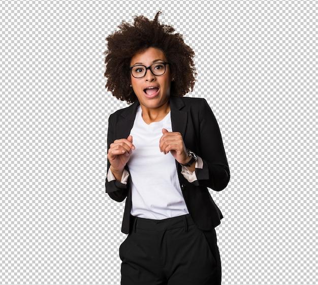 놀란 된 비즈니스 흑인 여성