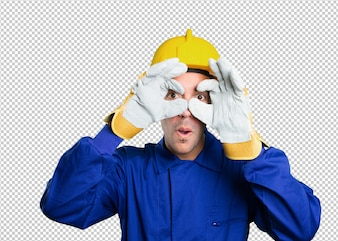 Surprised worker trying to search on white background