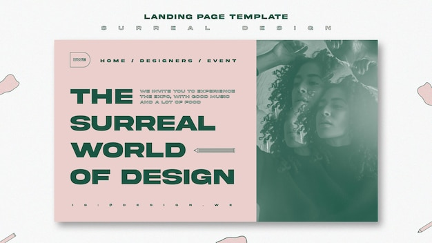 Surreal design event landing page template Free Psd