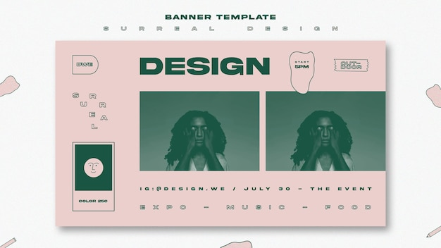 Surreal design template banner Free Psd
