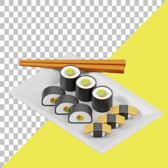 Суши 3d иллюстрация