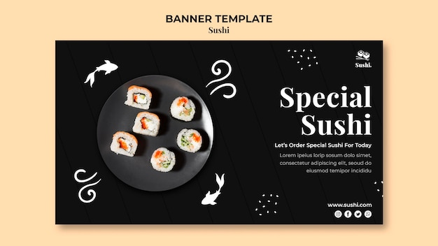 Sushi banner template with photo