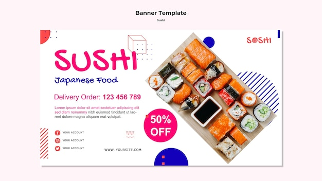 Sushi banner template