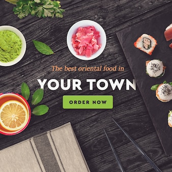 Sushi bar, restaurant social media post template