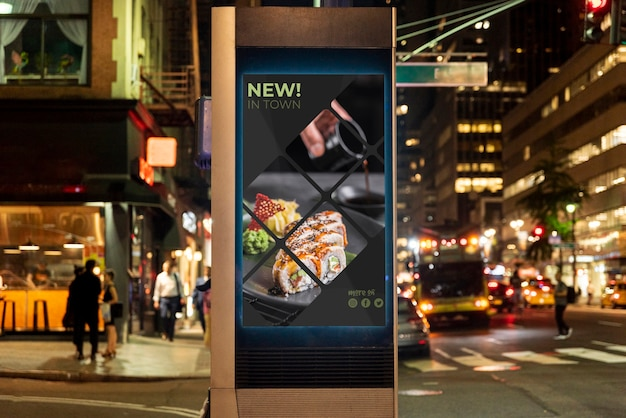 Sushi billboard mock-up at night