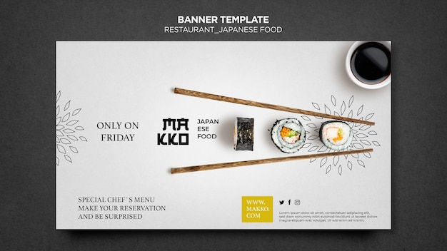 Sushi and chopsticks banner web template